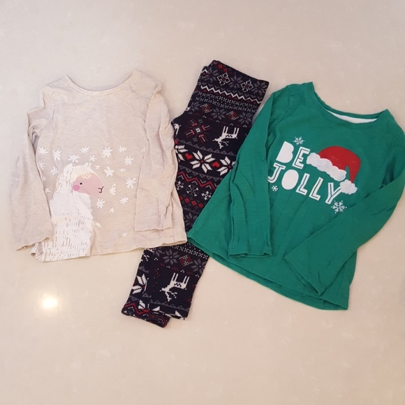 Other - ❄BUNDLE of 3 Girls 4T Winter Shirts & Leggings❄